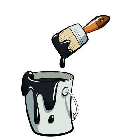 Cartoon schwarze Farbe malen in einem grauen Farbeimer, Malen mit einem braunen Pinsel Standard-Bild - 20496882