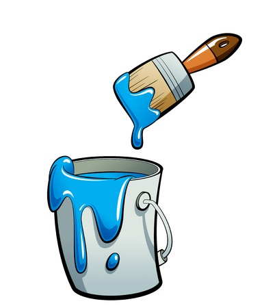 Cartoon blauwe kleur verf in een grijze verf emmer, schilderen met een bruine kwast