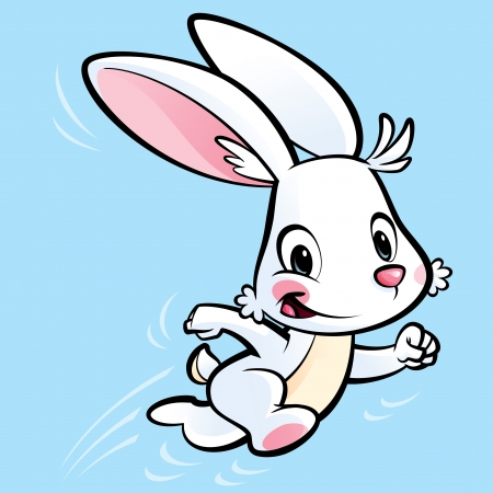 Happy white cartoon bunny running in a cyan background photo