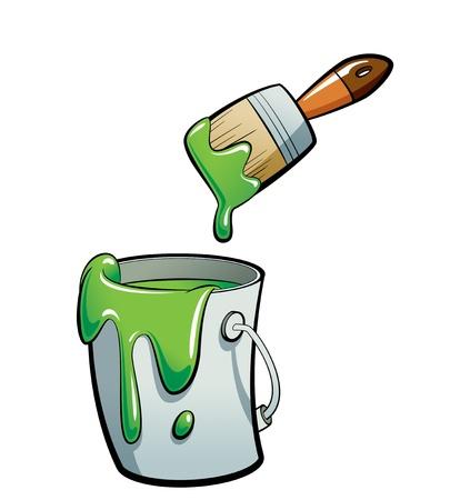 Cartoon groene kleur verf in een grijze verf emmer, schilderen met een bruine kwast Stockfoto