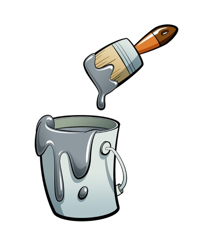 paint container: Cartoon grey color paint in a grey paint bucket , painting with a brown paint brush
