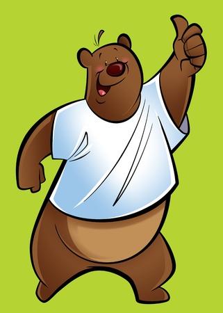 oso caricatura: Un oso pardo oso pardo haciendo un pulgar hacia arriba gesto