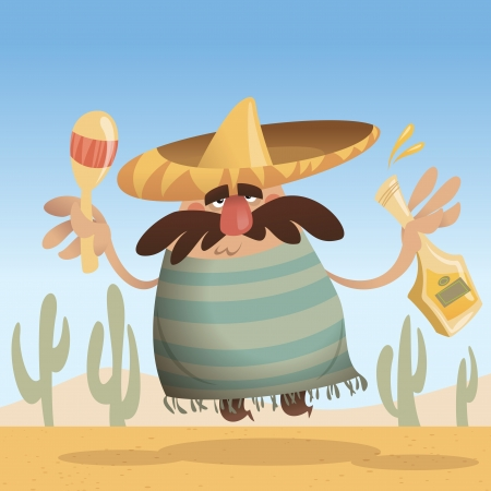 Cartoon mexican man with sombrero holding a bottle and maracas while jumping photo
