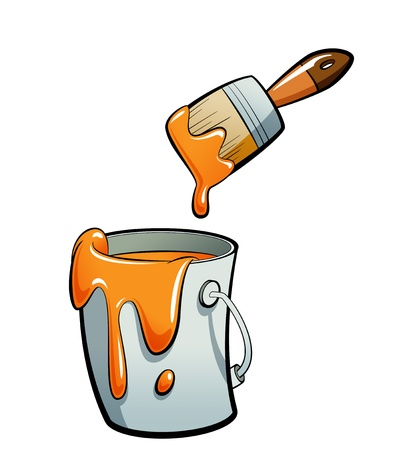 paint container: Cartoon orange color paint in a grey paint bucket , painting with a brown paint brush