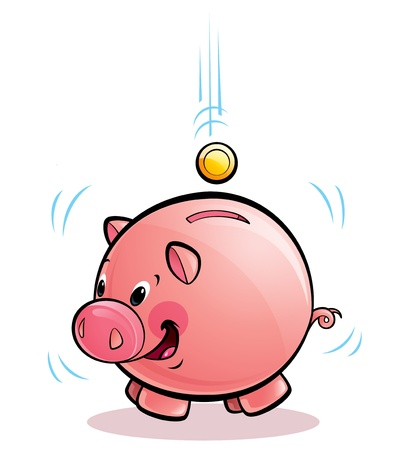 dropping: A cartoon pig money-box shaking happily while coins dropping in Stock Photo