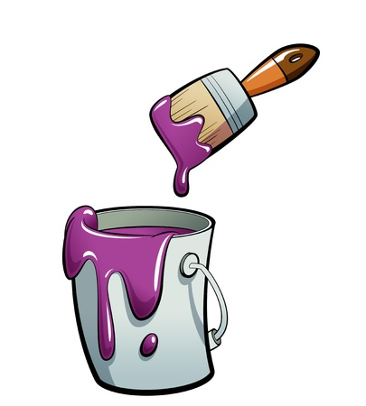 paint container: Cartoon purple color paint in a grey paint bucket , painting with a brown paint brush Stock Photo