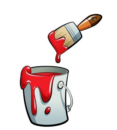 Cartoon rode kleur verf in een grijze verf emmer, schilderen met een bruine kwast