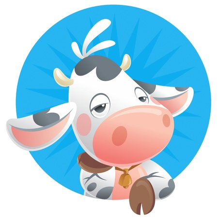 cow bells: Cartoon sleepy baby cow thinking in a blue background icon