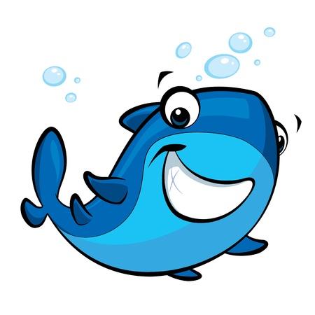 Happy cartoon blue baby shark with a cute smile