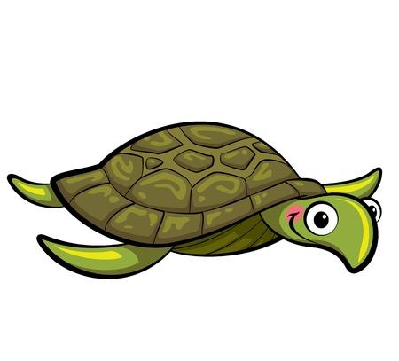 Happy cartoon sea turtle swimming Imagens