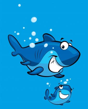 shark cartoon: Feliz historieta del tiburón azul bebé con su padre