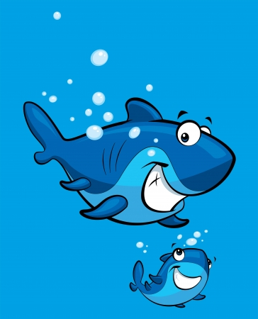 baby swim: Happy cartoon blue baby shark with his parent