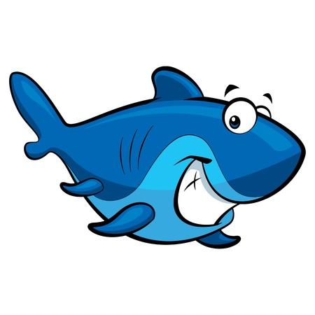 shark cartoon: Tiburón azul de dibujos animados feliz con una gran sonrisa