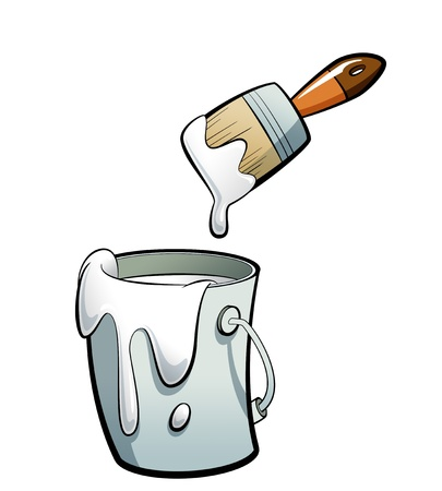 Cartoon white color paint in a grey paint bucket , painting with a brown paint brush 스톡 콘텐츠