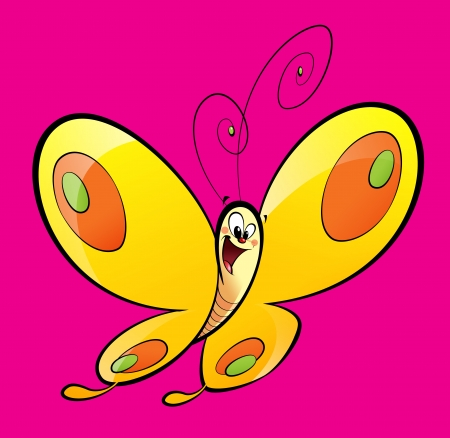 Cartoon yellow with orange and green dots, happy baby butterfly flying in a magenta background Stock Photo
