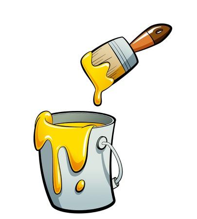 Cartoon gele kleur verf in een grijze verf emmer, schilderen met een bruine kwast Stockfoto