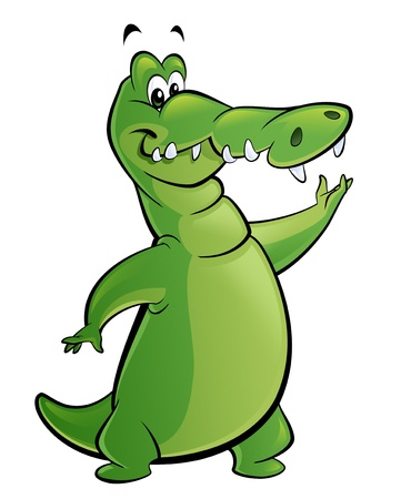 fullbody: A green cartoon crocodile standing on two legs and presents