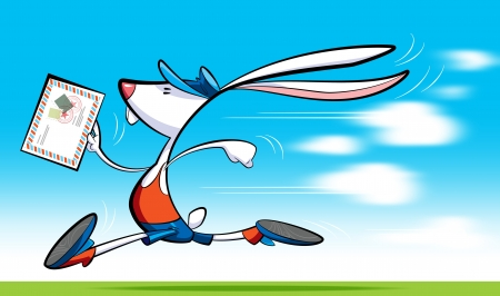 hurrying: A cartoon postman rabbit, wearing shorts, blouse and shoes delivering letter running