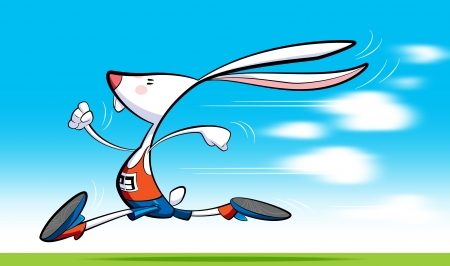 A cartoon runner rabbit, wearing shorts, blouse and shoes is running fast