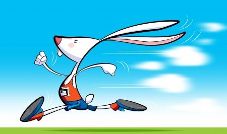 lapin sur fond blanc: Un lapin de coureur de dessin animé, en short, chemisier et des chaussures est en marche rapide