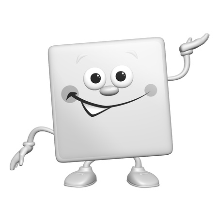 intro: Happy cartoon 3D square smiling character, looking at us and making a presenting gesture