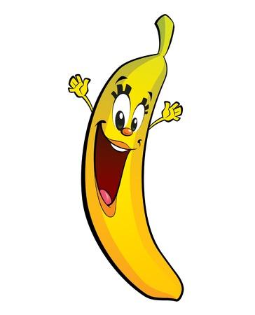 A happy girl banana character jumping and waving its hands happily