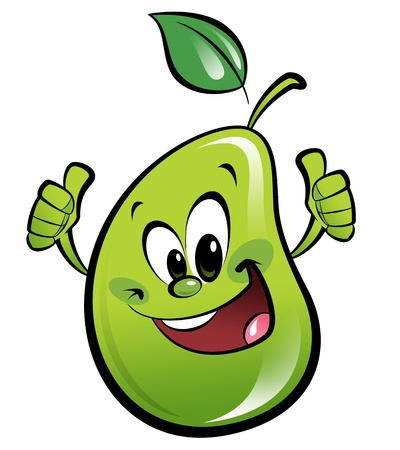 Happy cartoon smiling pear making an ok gesture with both hands