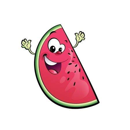 A happy watermelon character smiling and waving its hands happily photo