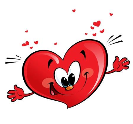A happy heart character giving a hug Banco de Imagens