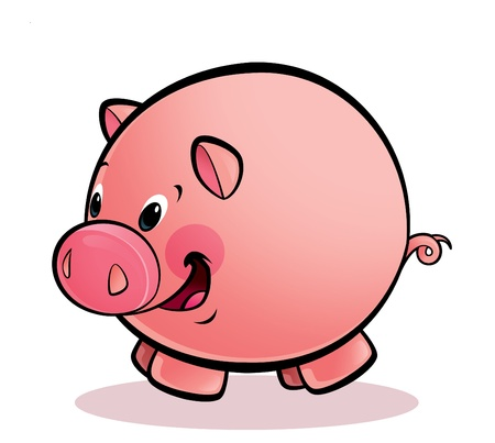 A cartoon round happy smiling pig Stock Photo - 20496880