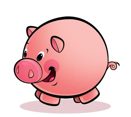 A cartoon round happy smiling pig Stock Photo - 20496880