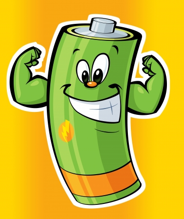 A cartoon strong green battery smiling Stock fotó