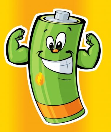 Eine Karikatur starke grüne Batterie lächelnd Standard-Bild - 20496942