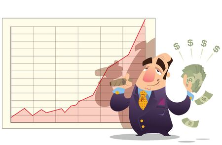 A cartoon man standing satisfied, in front of a stock market diagram, holding many dollars photo