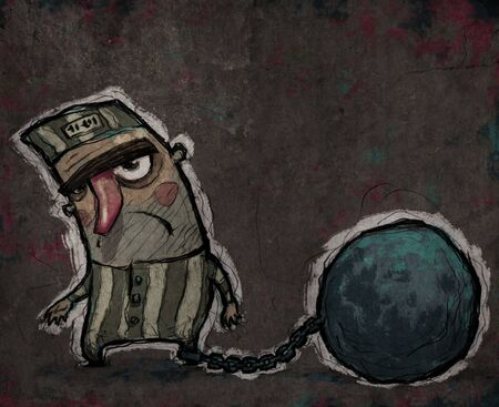 lawful: Sad prisoner with a huge chain ball in his leg