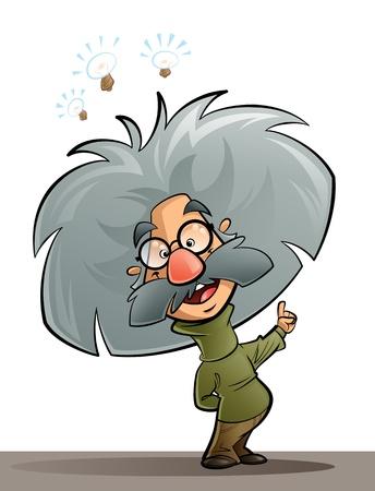 A cartoon genius scientist thinking and explaining