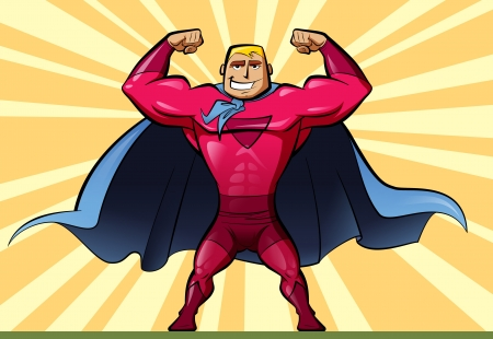man working out: A man superhero with a red suit and a blue cape Stock Photo