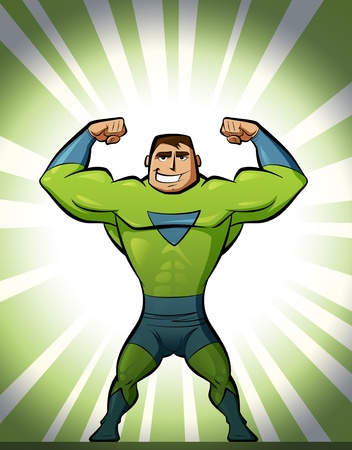 Super strong superhero in green suit and background