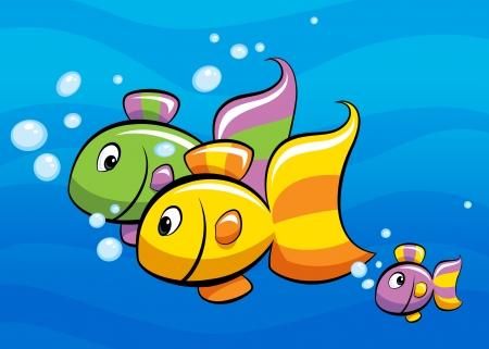 A colorful cartoon tropical fish family swimming Banco de Imagens