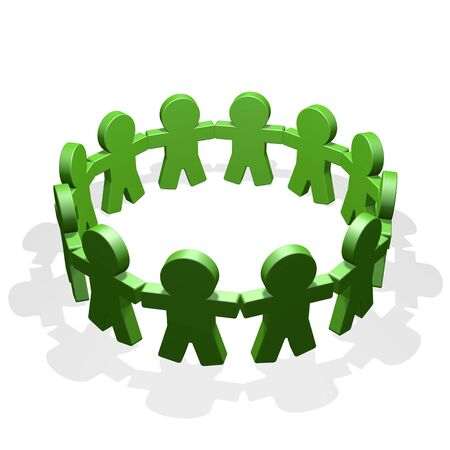 Green people connected in a circle holding their hands photo