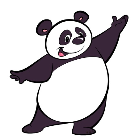 Happy cartoon panda character, making a presentation gesture photo