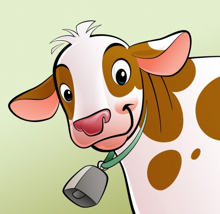 A cartoon smiling, white with brown dots, cow with a cowbell photo