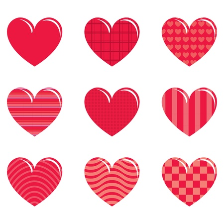 14 february: 9 decorative hearts with patterns