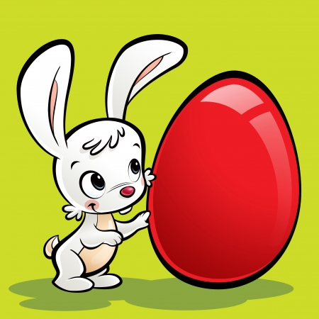 Happy white cute cartoon bunny presenting its huge easter egg Stock Photo - 20560919