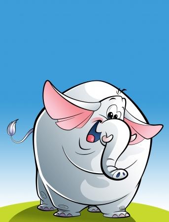 Eine glückliche weißen Elefanten Blick in die Kamera und winken fröhlich seine Ohren und Schwanz Standard-Bild - 20560898