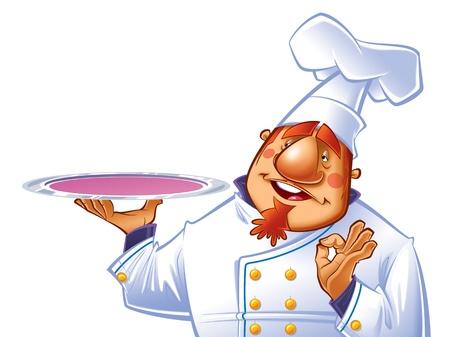 sign ok: Happy chef with a tray making a perfect gesture. Stock Photo