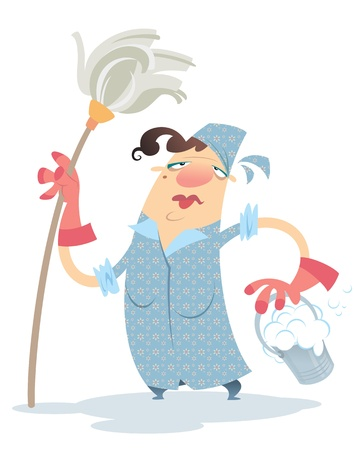 A sad cartoon cleaning lady, holding a mop and a bucket