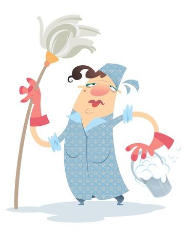 dweilen: Een droevige cartoon schoonmaakster, met een dweil en een emmer