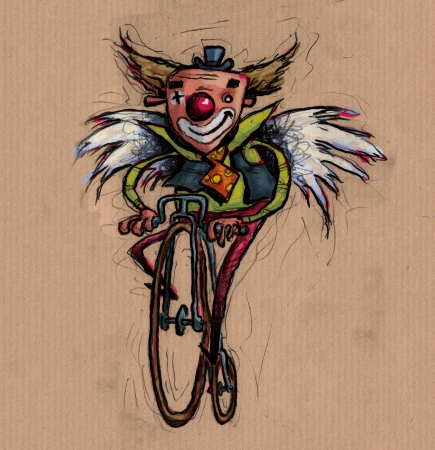 A colorful clown with wings, biking photo