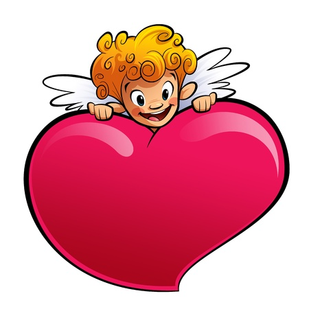 A blonde happy cupid, smiling and holding a big heart photo